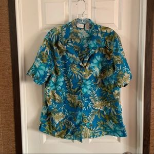 Erika Blue/Green Tropical Print Button Up Shirt 1X